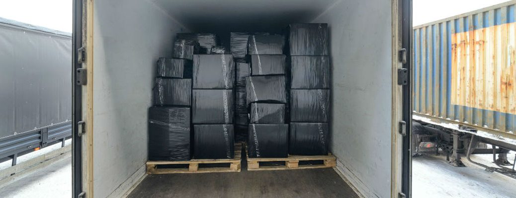 A photo of cargo loaded into a van trailer before it's delivered.