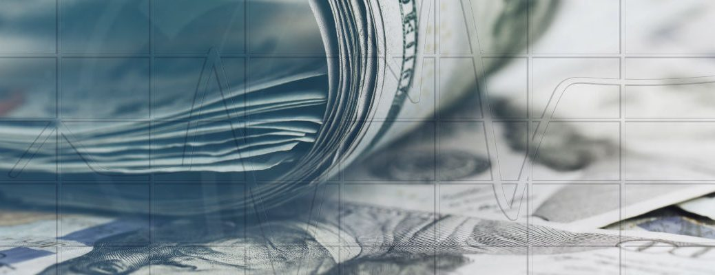 A photo illustration of a graph overlaid on a pile of money.
