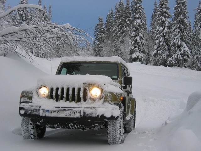 jeep driving in winter with snow tires