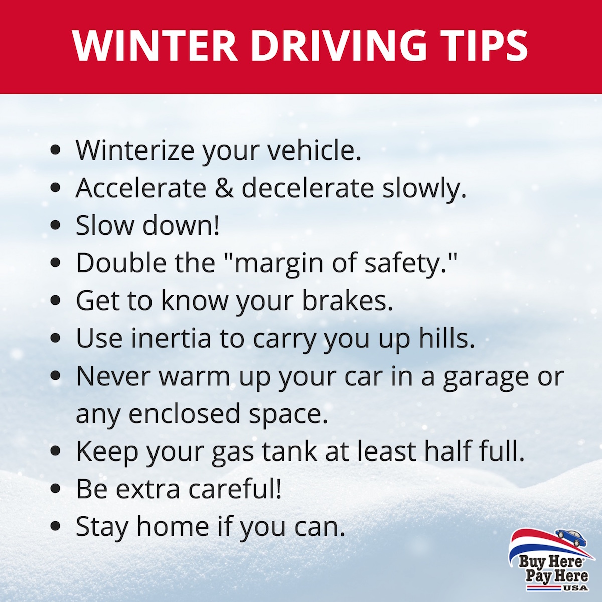 Winter Driving Tips - Buy Here Pay Here USA