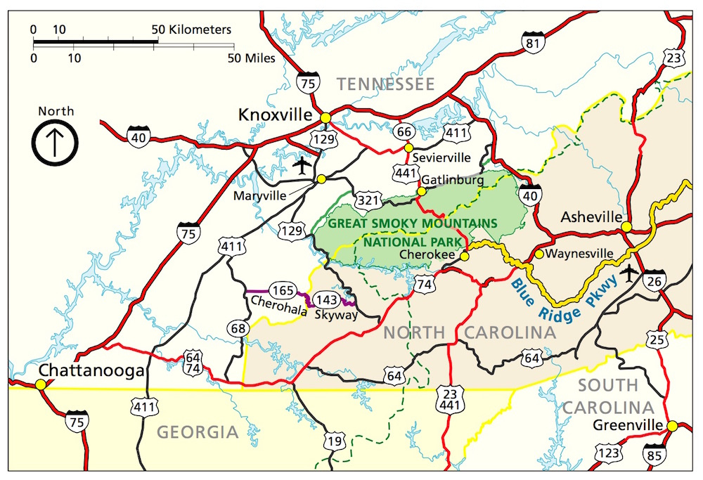 Great Smoky Mountain National Park Map - Tennesee, Georgia, North Carolina