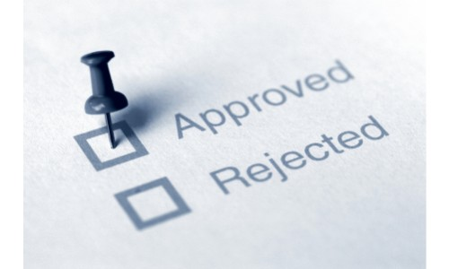 Approved check box with thumbtack