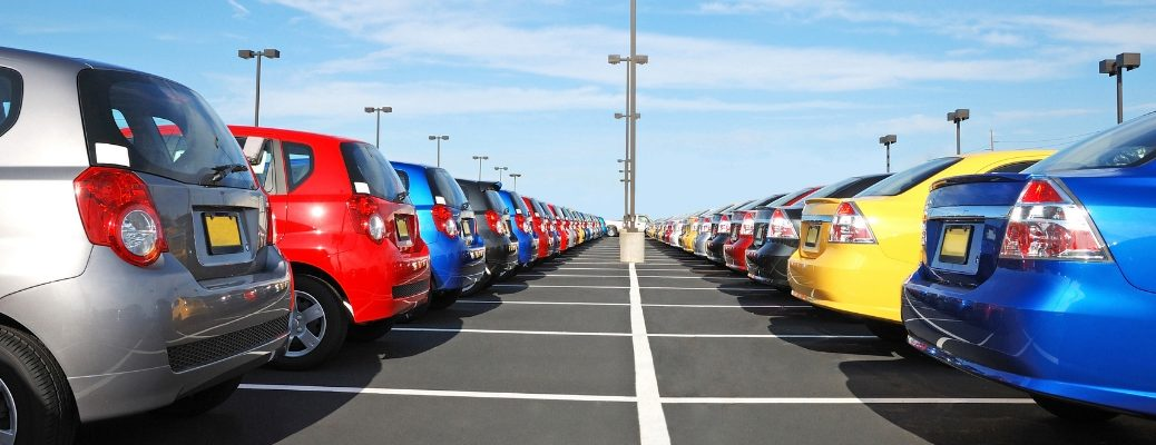 Lineup of vehicles in a car lot