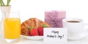 Breakfast on table with Happy Mother's Day card