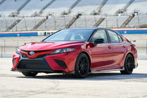 front view of a red Toyota Camry