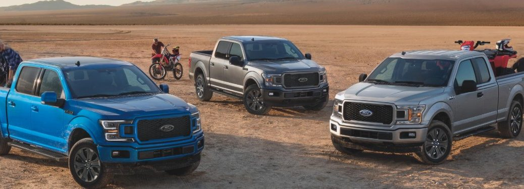 three Ford F-150 models