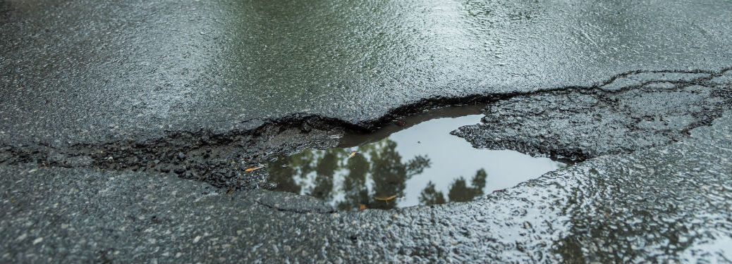 water filled pothole
