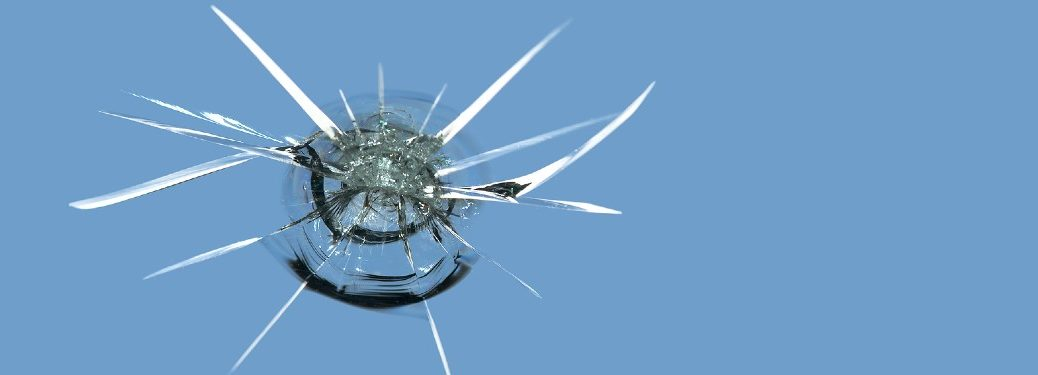 close up of a chipped windshield