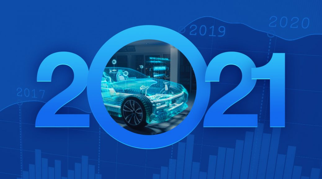 2021 auto trends on blue background