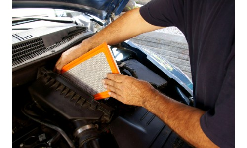 Air filter being replaced