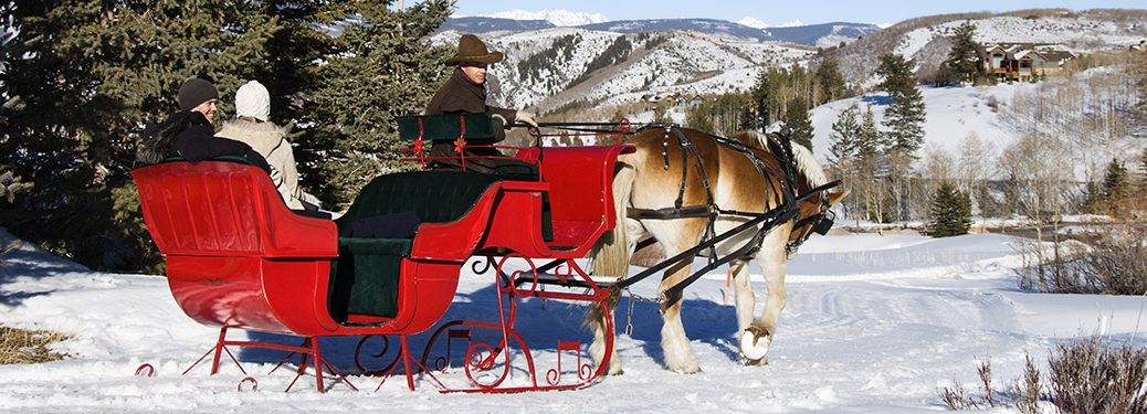 sleigh pulled by horses