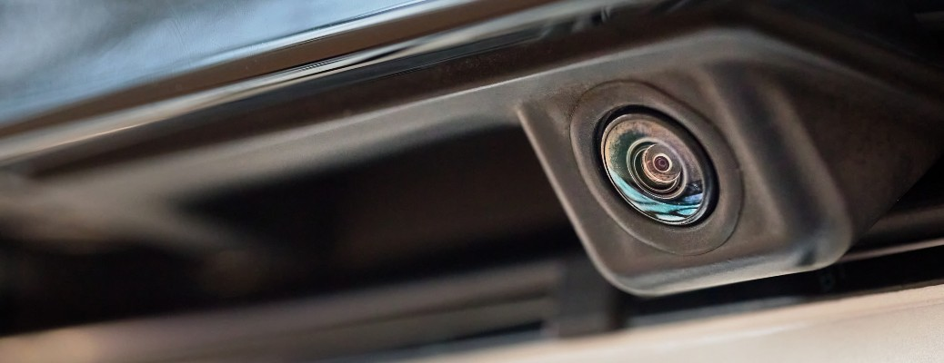 stock photo close up of backing camera on a car