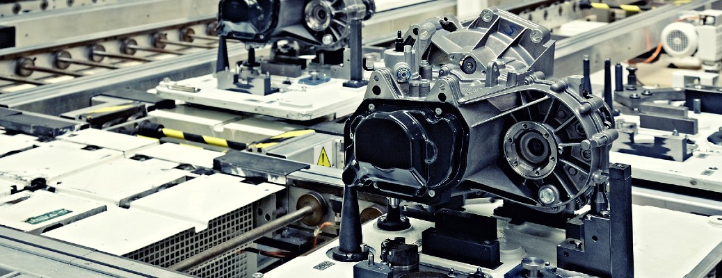 factory producing engines on assembly line