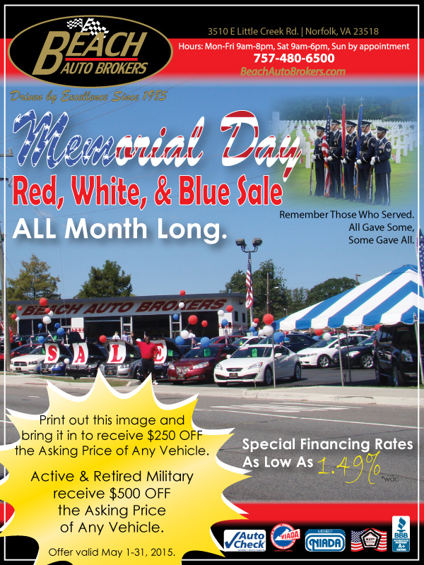 Red White And Blue Auto Sales >> Memorial Day Red White Blue Sale All Month Long Beach Auto