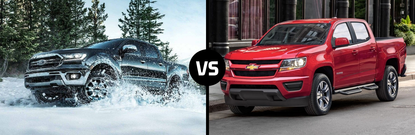 Comparison image of a black 2019 Ford Ranger and a red 2019 Chevrolet Colorado
