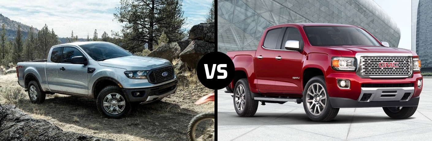 Comparison image of a white 2019 Ford Ranger and a red 2019 GMC Canyon