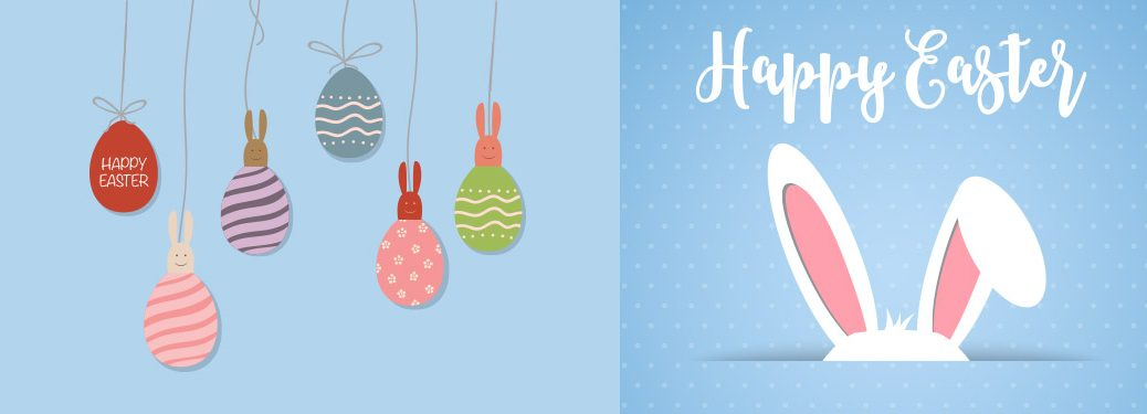 Happy Easter graphic with bunny ears and several Easter eggs