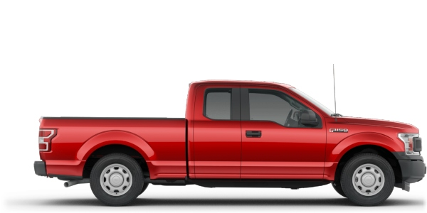 Exterior view of a red 2019 Ford F-150 SuperCab®