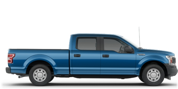 Exterior view of a blue 2019 Ford F-150 SuperCrew®