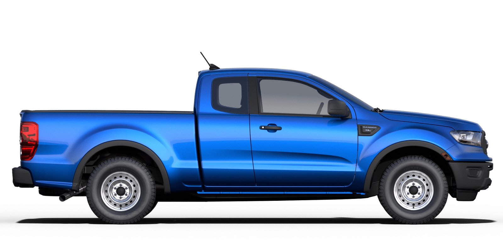 Exterior view of a blue 2019 Ford Ranger SuperCab