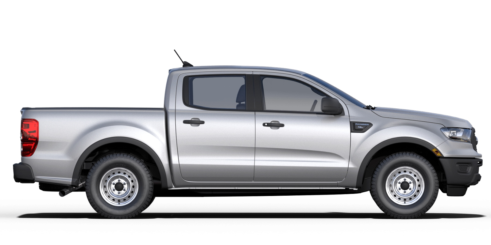 Exterior view of a silver 2019 Ford Ranger SuperCrew®