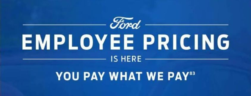 Banner that highlights the Ford Employee Pricing promotion