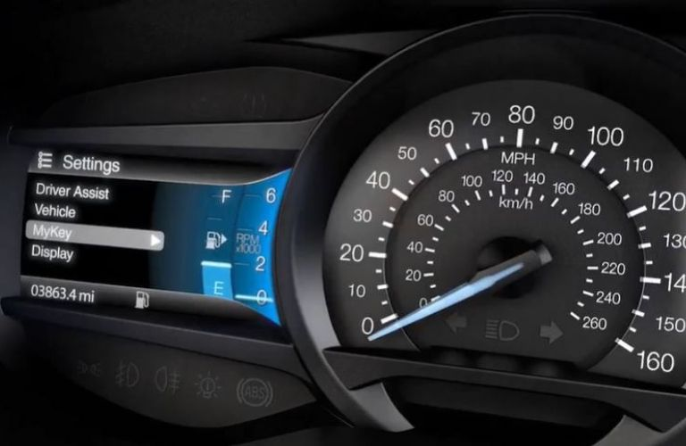 Closeup view of the Ford MyKey® screen on the instrument cluster
