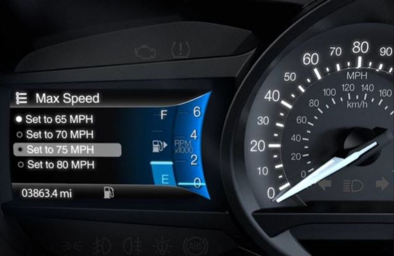 Closeup view of the Ford MyKey® screen to set the top speed