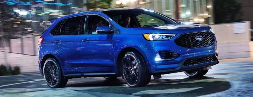 Exterior view of a blue 2019 Ford Edge ST