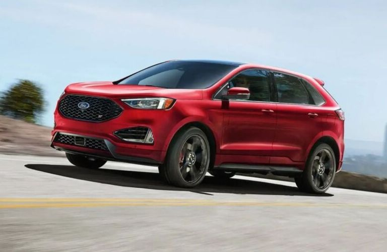 Exterior view of a red 2019 Ford Edge ST