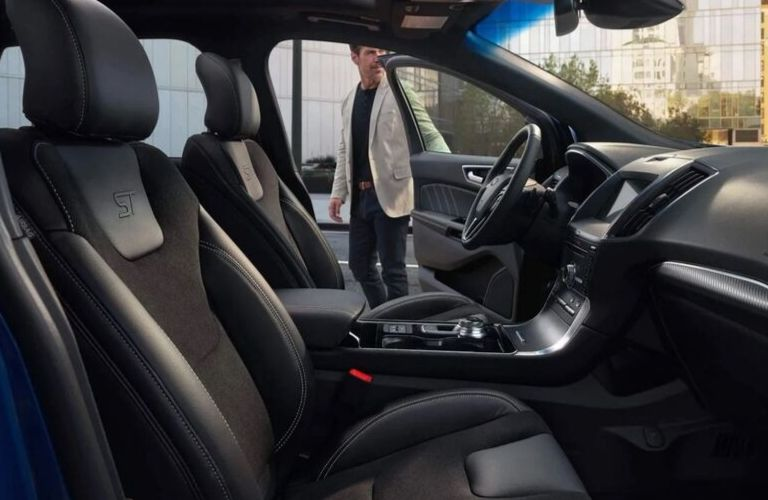 Interior view of the front seating area inside a 2019 Ford Edge ST