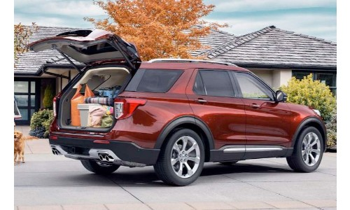 2020 Ford Explorer with an open trunk