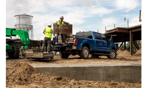 2020 Ford Super Duty at a work site