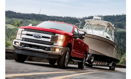 2020 Ford Super Duty hauling a boat