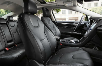2020 Ford Fusion interior front and back row black seating