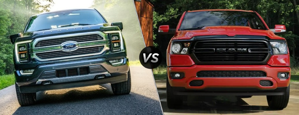 A dark gray 2021 Ford F-150 Hybrid compared to a red 2021 RAM 1500 Hybrid.