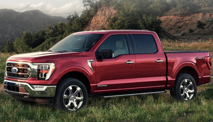 2021 Ford F-150 parked in grass