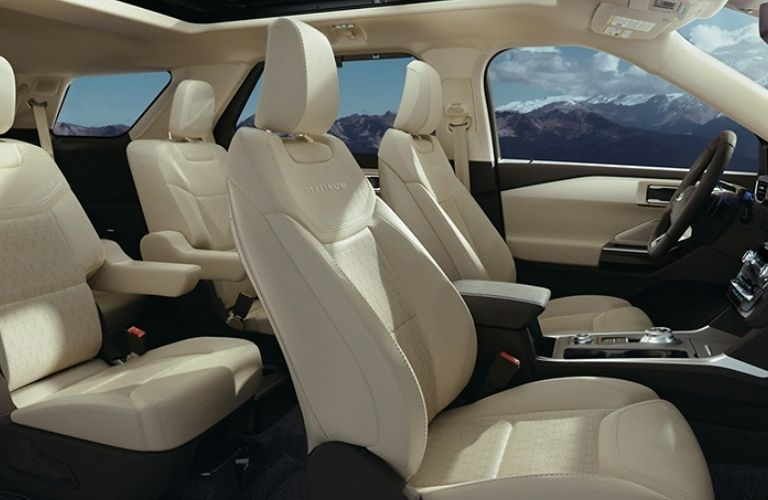 View of the interior seats of the 2021 Ford Explorer