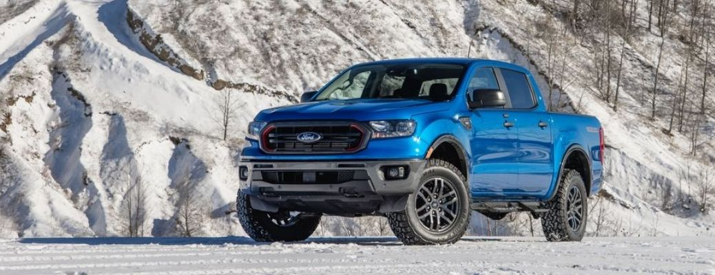 View of the 2021 Ford Ranger in the snow