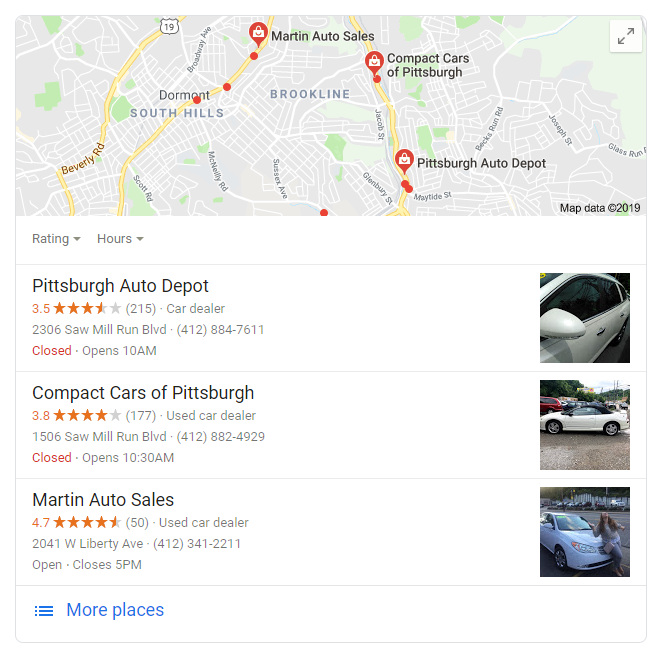 google local 3 pack map results local automotive marketing