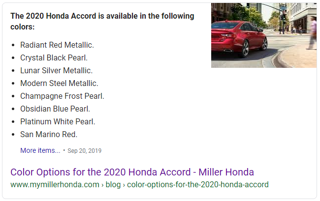 Featured snippets in automotive SEO