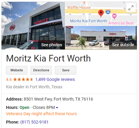 Google My Business listing for a dealership