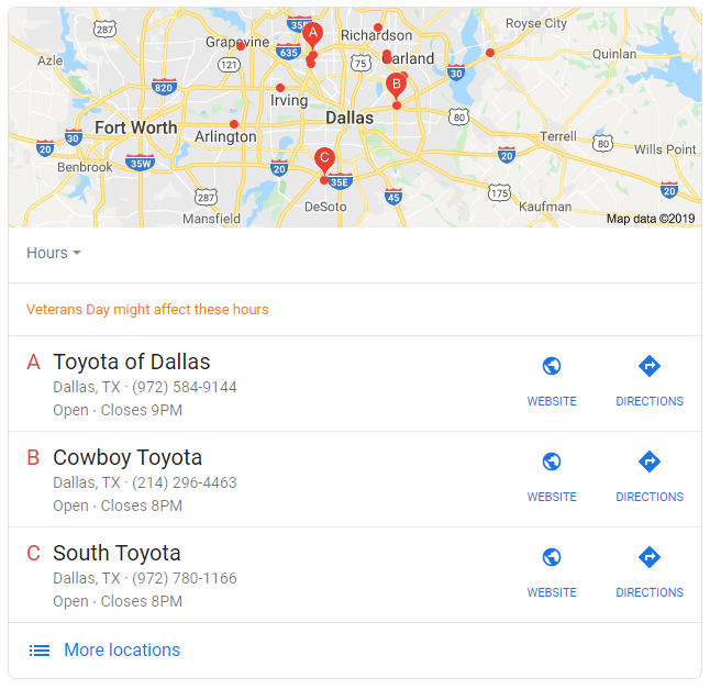 Google places local listing