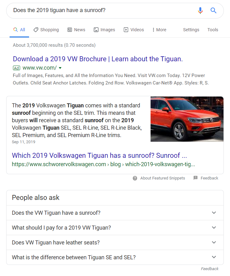 google featured snippet example for keyword does the 2019 tiguan have a sunroof