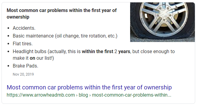 "google featured snppet example for keyword ""most common car problems within the first year of ownership"""