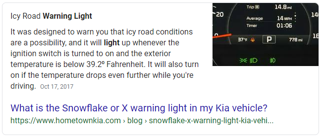 "google featured snippet example for ""what is the snowflake warning light"""