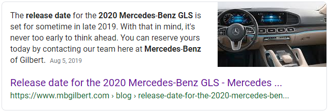 "google featured snippet example for keyword ""2020 mercedes-benz gls release date"