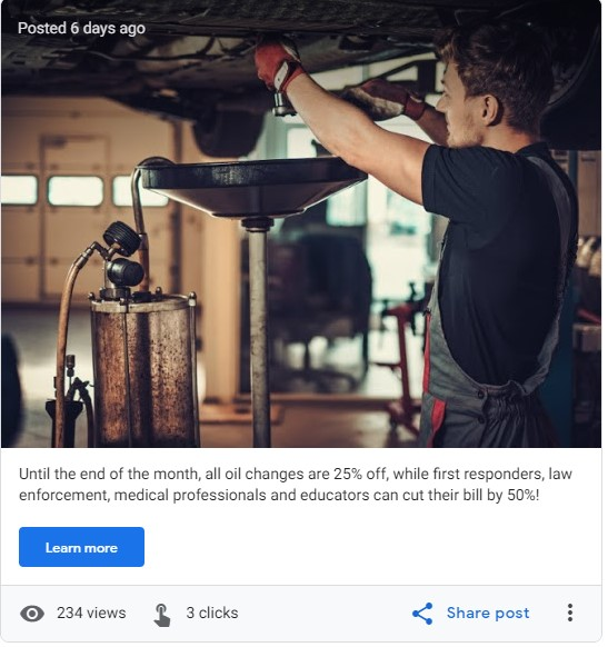 screenshot of a Google My Business post showing a mechanic changing oil and offering first responder oil change discounts