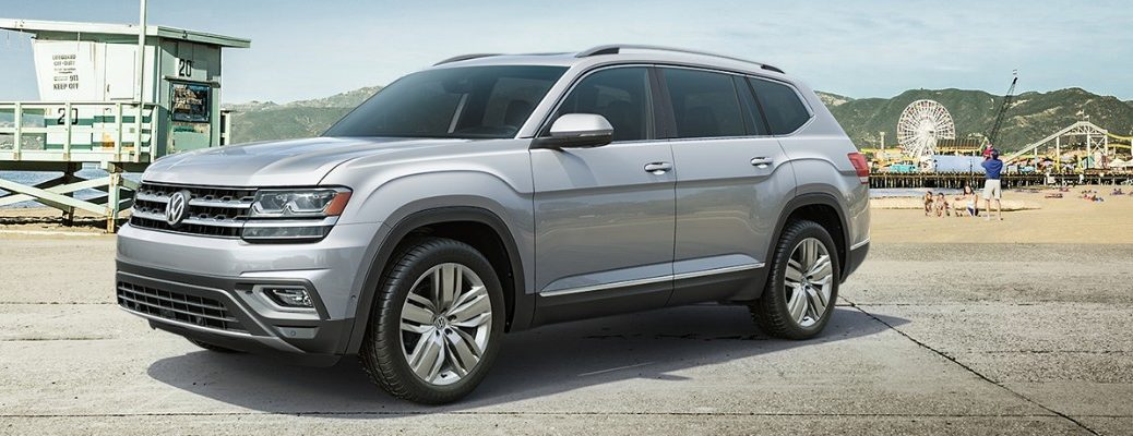 Profile view of 2019 VW Atlas parked at pier