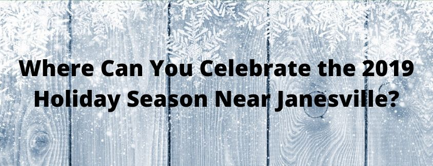 Where Can You Celebrate the 2019 Holiday Season Near Janesville banner against a frost-covered wooden fence background
